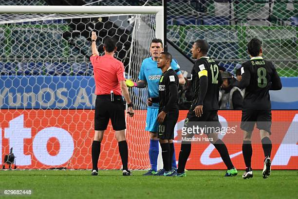Match Referee Viktor Kassai awards a penalty to Kashima Antlets during the FIFA Club World Cup Semi Final between Atletico Nacional and Kashima...