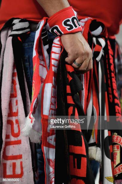 Match scarfs are seen prior to the UEFA Champions League group A match between SL Benfica and Manchester United at Estadio da Luz on October 18 2017...