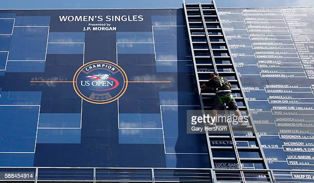 Match scores are posted on the main scoreboard at the US Open in New York August 30 2014