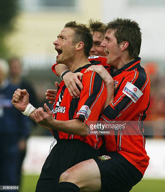 Match winner Giuliano Grazioli celebrates the third for Barnet during the Nationwide Conference match between Barnet and Halifax Town at the...