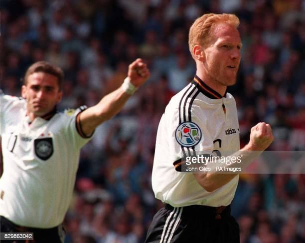 Match winner Matthias Sammer salutes his goal which knocks Croatia out of Euro 96