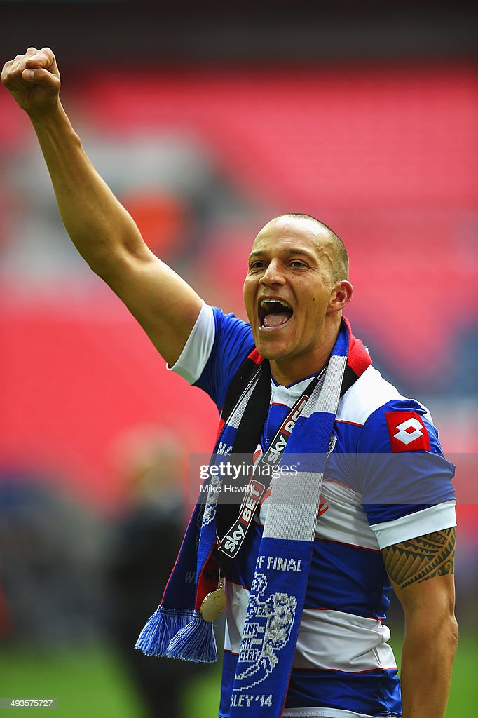 Match winning goalscorer <a gi-track='captionPersonalityLinkClicked' href=/galleries/search?phrase=Bobby+Zamora&family=editorial&specificpeople=207020 ng-click='$event.stopPropagation()'>Bobby Zamora</a> of Queens Park Rangers celebrates following his sides victory during the Sky Bet Championship Playoff Final between Derby County and Queens Park Rangers at Wembley Stadium on May 24, 2014 in London, England.