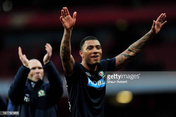 Match winning goalscorer Colin KazimRichards of Blackburn and his manager Michael Appleton celebrate their team's 10 victory during the FA Cup with...