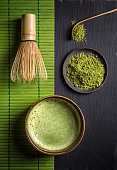 Still life with Japanese matcha accessories and green tea in bowl