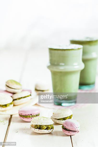 Matcha cappuccino, Macarons filled with matcha creme