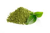 Matcha/ Green Tea powder and fresh green tea leaves