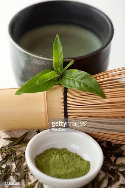 Matcha green tea still life