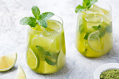 Matcha iced green tea with lime and fresh mint on a marble background