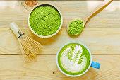 Matcha latte and matcha green tea