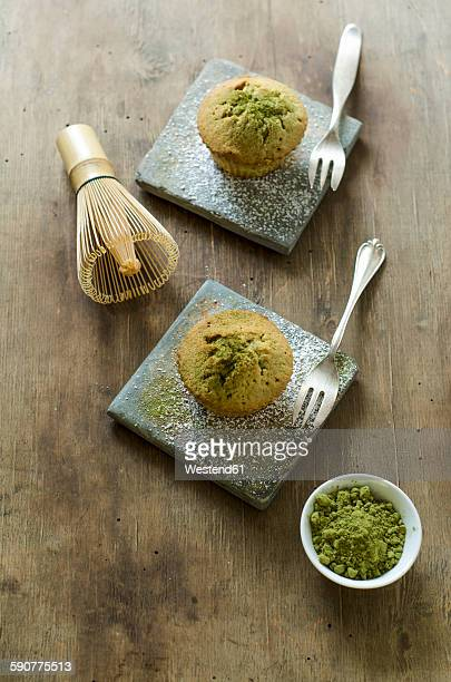 Matcha muffins with matcha powder and matcha whisk