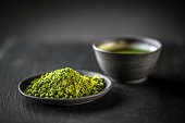 Matcha, powder green tea in black plate