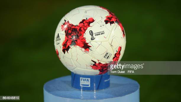 A matchball is pictured during the FIFA U17 World Cup India 2017 Quarter Final match between Mali and Ghana at Indira Gandhi Athletic Stadium on...
