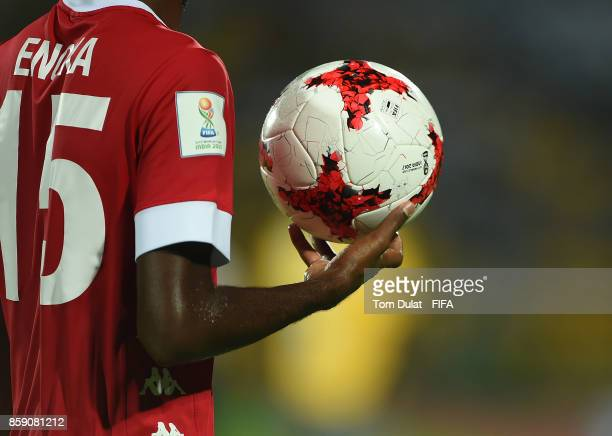 A matchball is pictured during the FIFA U17 World Cup India 2017 group E match between New Caledonia and France at Indira Gandhi Athletic Stadium on...