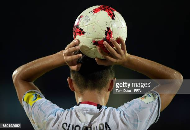 A matchball is pictured during the FIFA U17 World Cup India 2017 group E match between France and Japan at Indira Gandhi Athletic Stadium on October...
