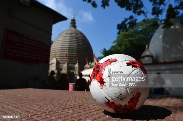 A matchball is pictured with Kamakhya Temple in the background during the FIFA U17 World Cup India 2017 tournament on October 10 2017 in Guwahati...