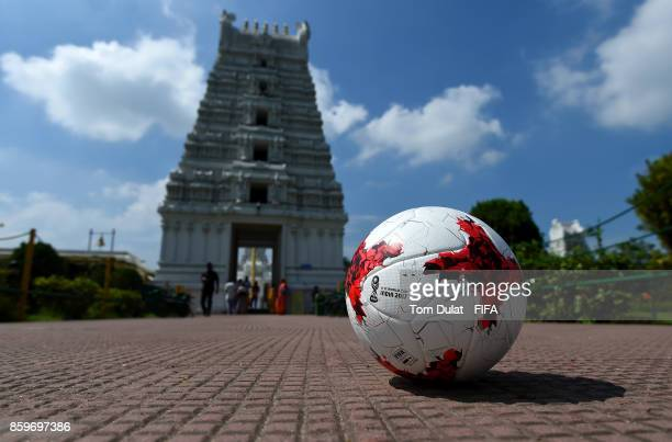 A matchball is pictured with Tirupati Sri Balaji Temple in the background during the FIFA U17 World Cup India 2017 tournament on October 10 2017 in...