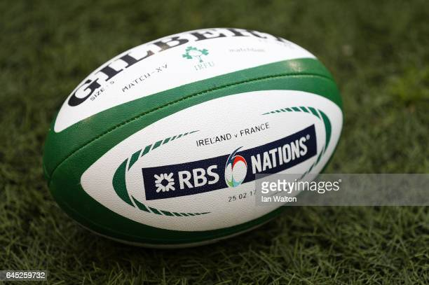 A matchball is seen prior to kickoff during the RBS Six Nations match between Ireland and France at the Aviva Stadium on February 25 2017 in Dublin...