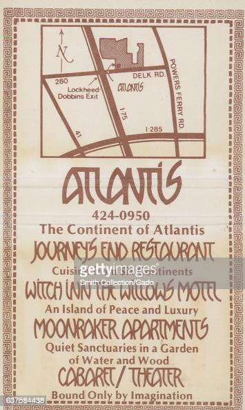 Matchbook cover image for The Continent of Atlantis restaurant in Atlanta Georgia 1980