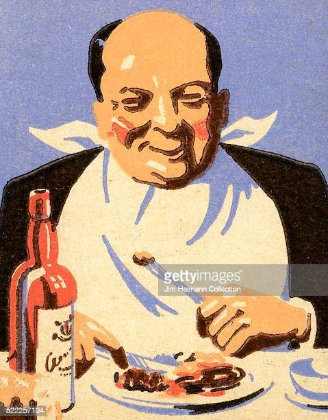 Matchbook image of a bald man with a bib smiling as he sits before a plate of food and bottle of wine