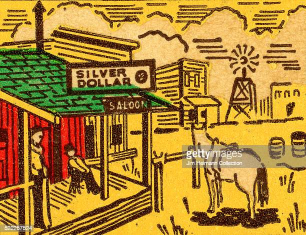 Matchbook image of an Old West town with a horse tied up in front of a saloon as an advertisement for Knott's Berry Farm