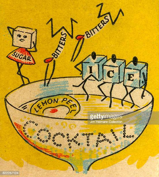 Matchbook image of cocktail ingredients including ice bitters sugar and lemon peel given human form as they sit around and dive off the edge of a...