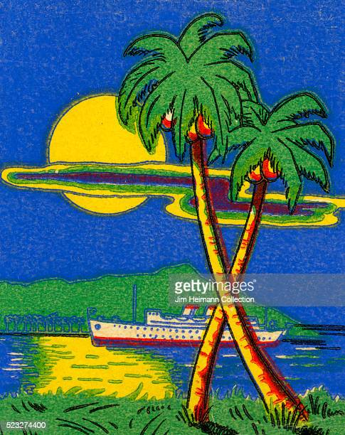Matchbook image of cruise ship under moonlight of large full moon Palm trees in foreground