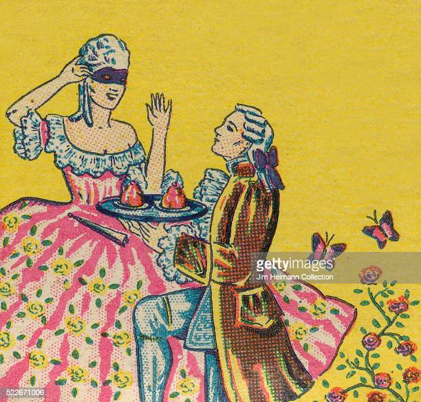 Matchbook image of man and woman in Victorian dress Man wearing powdered wig is on knee presenting dishes of ice cream to blindfolded woman...