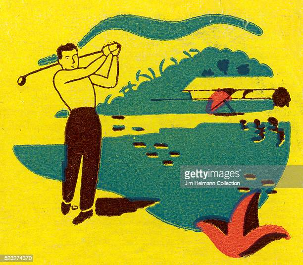 Matchbook image of man on golf course swinging golf club