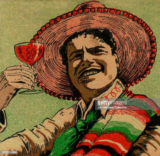 Matchbook image of man waring broad rimmed hat and serape holding wine glass up to toast