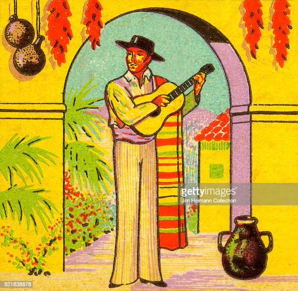 Matchbook image of man with a serape over his shoulder playing guitar He stands under an archway surrounded by vases gourds and hanging chilis