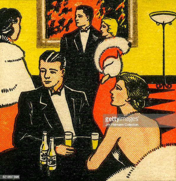 Matchbook image of men and women in expensive clothing at a cocktail party or fancy restaurant