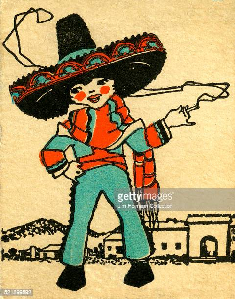 Matchbook image of person wearing sombrero and poncho or serape smoking cigarette Small town in background