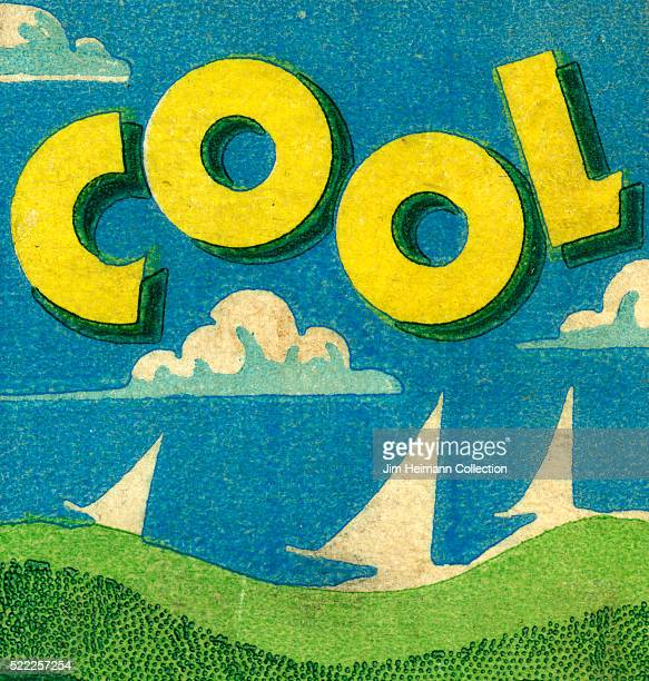 Matchbook image of sailboats on a lake with white clouds and word COOL hovering over everything