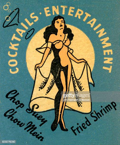 Matchbook image of semi nude female performer against a blue background as an advertisement for Mitchell's Cocktail Lounge