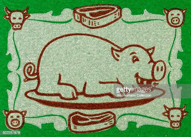 Matchbook image of smiling pig on a platter against a green background