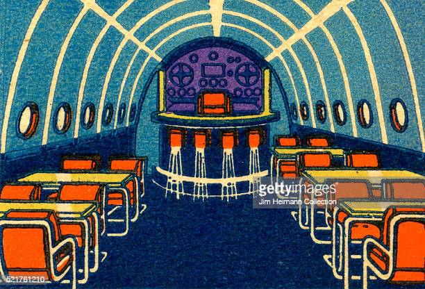 Matchbook image of tables seats and bar in dining room car