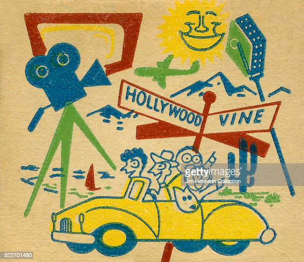 Matchbook image of two adults two children and dog in yellow car pointing at sights Hollywood and Vine street sign movie camera sun cactus sailboat