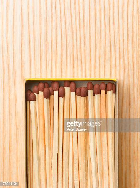 Matchbox against wooden background, close-up