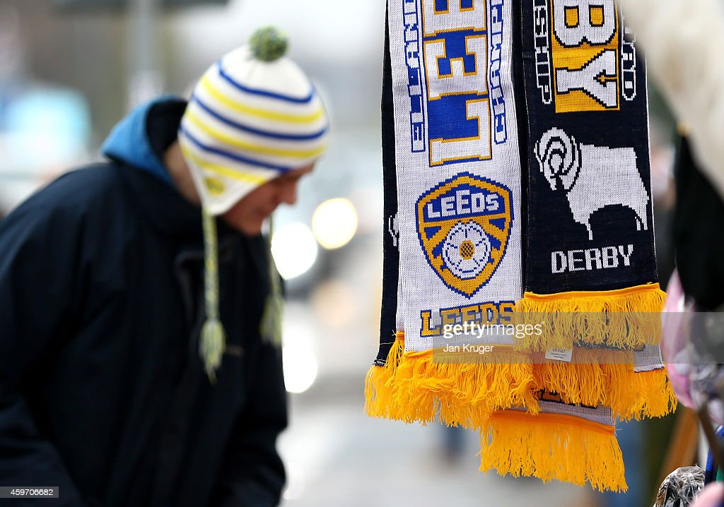 Matchday memorabilia on sale ahead of the Sky Bet Championship match between Leeds United and Derby County at Elland Road on November 29, 2014 in Leeds, England.