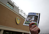 A matchday program on sale ahead of the Sky Bet Championship match between Leeds United and Derby County at Elland Road on November 29 2014 in Leeds...