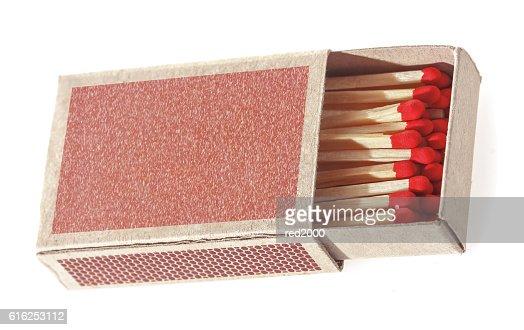 Coincide en una caja de cerillas. : Foto de stock