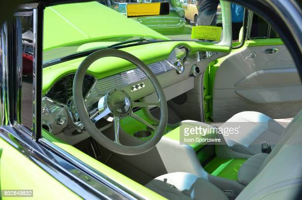 Matching two tone colored interior on the 1955 Chevy Nomad on display at the Hot August Nights Custom Car Show the largest nostalgic car show in the...