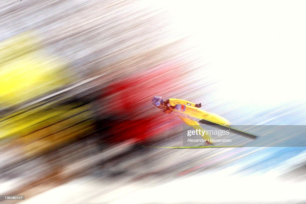 Matciej Kot of Poland competes during the qualification round of the FIS Ski Jumping World Cup event at the 60th Four Hills ski jumping tournament at...