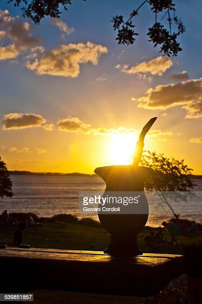 Mate (beverage) at sunset