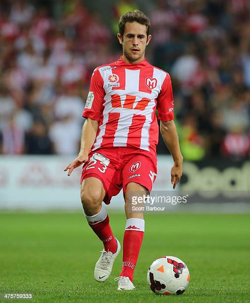 Mate Dugandic of the Heart controls the ball during the round 21 ALeague match between Melbourne Heart and Melbourne Victory at AAMI Park on March 1...