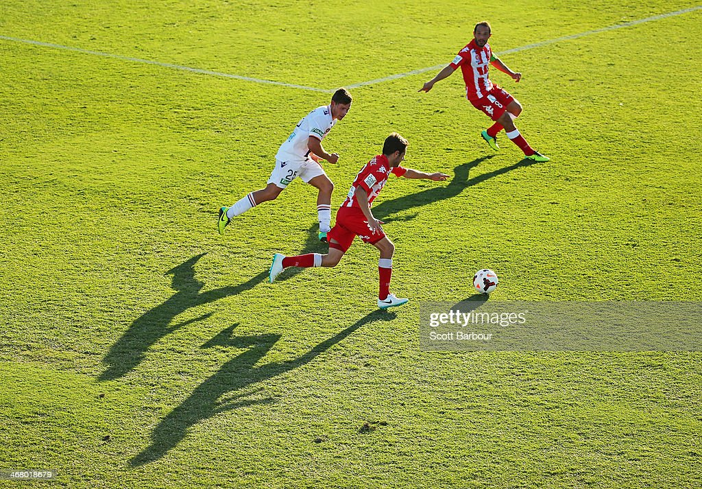 Mate Dugandic of the Heart runs with the ball during the round 18 ALeague match between Melbourne Heart and Perth Glory at Lavington Sports Ground on...