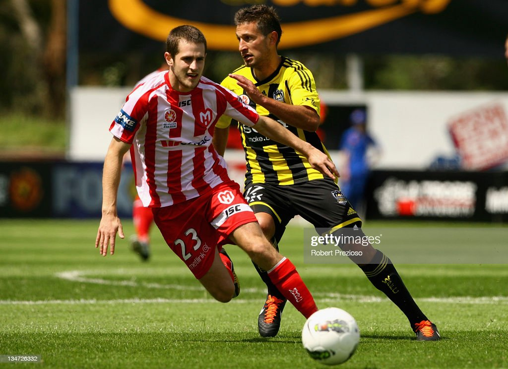 Mate Dugandzic of the Heart passes the ball during the round nine A-League match between the Melbourne Heart and the Wellington Phoenix at Latrobe City Sports & Entertainment Complex on December 4, 2011 in Melbourne, Australia.