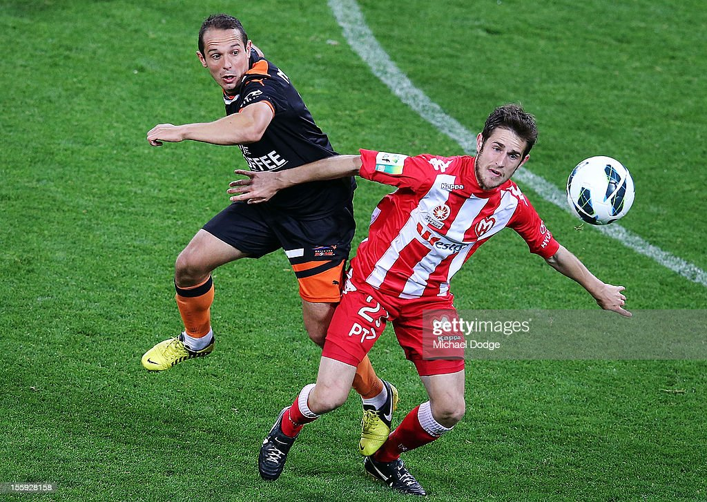 Mate Dugandzic of the Heart, right,during the round six A-League match between the Melbourne Heart and the Brisbane Roar at AAMI Park on November 9, 2012 in Melbourne, Australia.