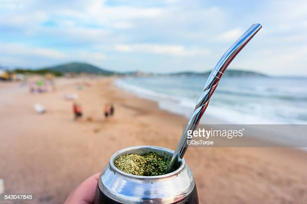 Mate, symbol of Uruguay, beach at Piriapolis