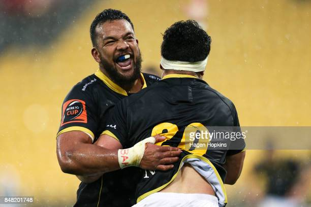 Mateaki Kafatolu of Wellington congratulates Du'Plessis Kirifi on his try during the round five Mitre 10 Cup match between Wellington and Canterbury...